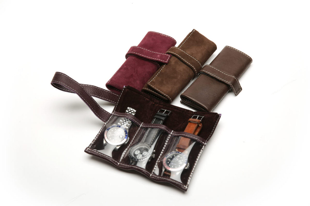Rotolo porta orologi in pelle o camoscio con pvc qualit italiana pergher milano - Porta orologi ikea ...